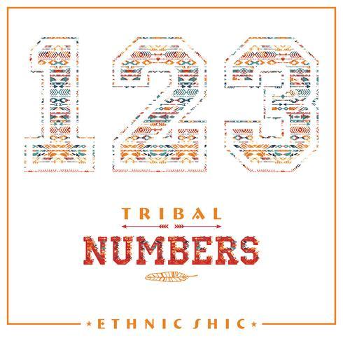 Números étnicos tribales para camisetas, carteles, tarjetas y otros usos. vector