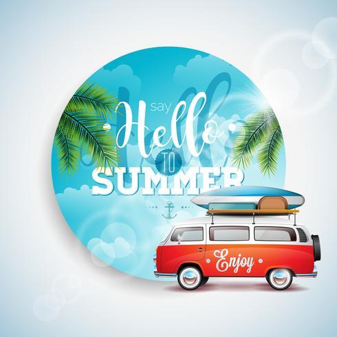 Vector dizer Olá a ilustração tipográfica de férias de verão em fundo floral de plantas tropicais.