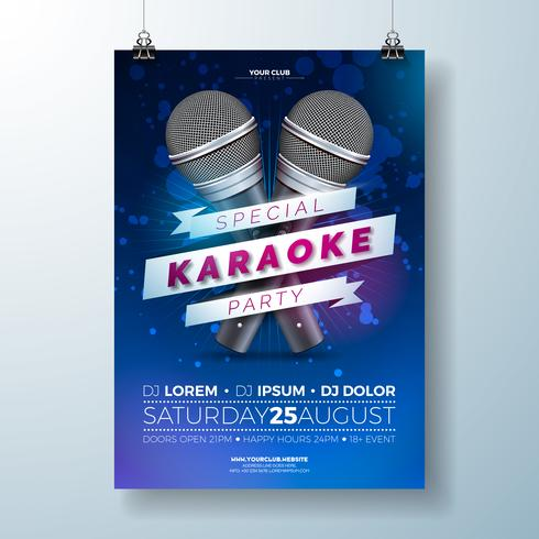 Flyer illustration med ett Karaoke Party tema