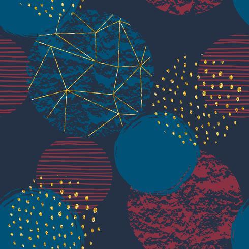 Astratto modello cosmico senza soluzione di continuità. Struttura disegnata a mano alla moda, glitter ed elementi geometrici.