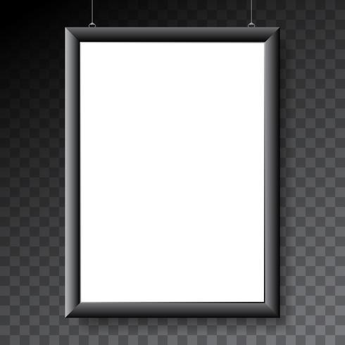 Plakatmodellschablone mit schwarzem Metallrahmen auf transparentem Hintergrund vektor
