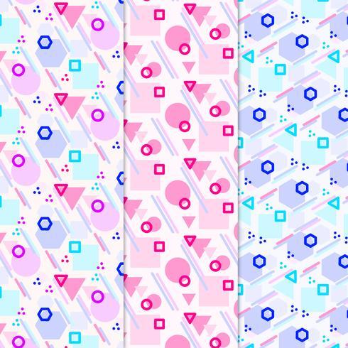 Vektor Färgglada Memphis Style Patterns