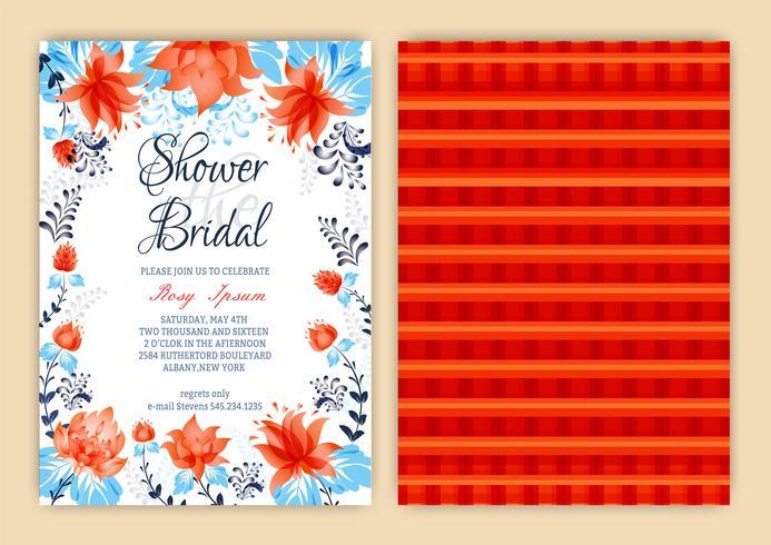 Blumenrahmen-Brautparty-Einladung oder Weedding Karte