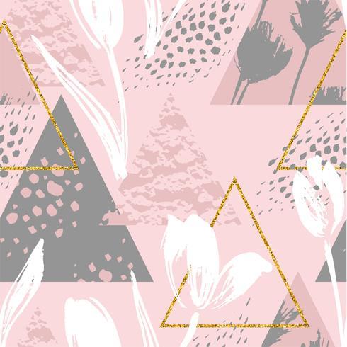 Motif sans soudure floral abstrait avec des tulipes et des éléments géométriques.