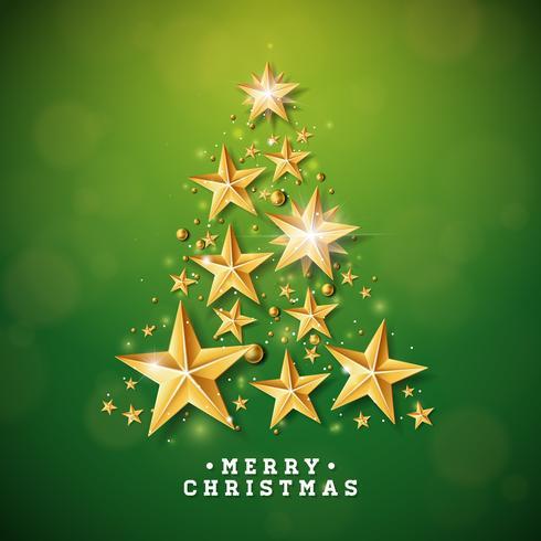 Navidad y año nuevo ilustración con forma de árbol de navidad