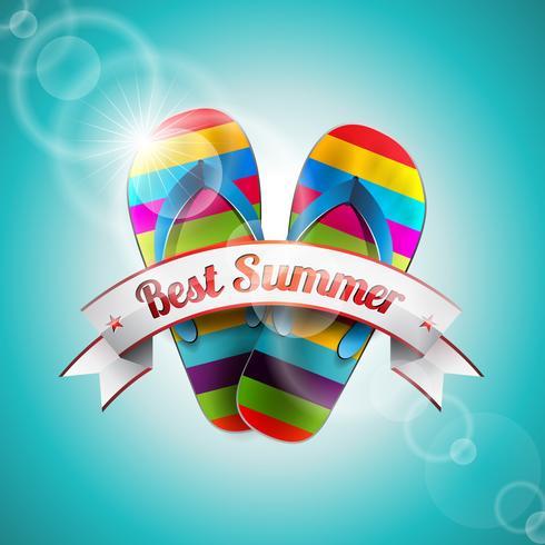 Vector Summer Holiday Design med troll och band på blå hav bakgrund.