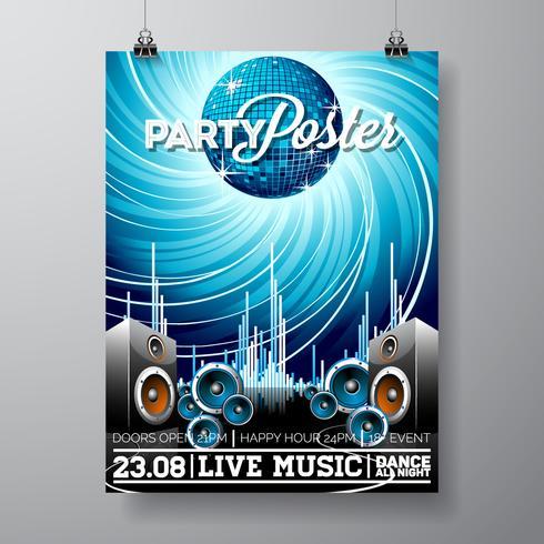 Party Flyer ilustración para un tema musical con altavoces y bola de discoteca. vector