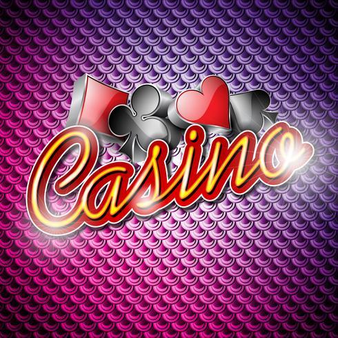 Vektor illustration på ett kasinotema med pokersymboler och glänsande texter på abstrakt mönsterbakgrund.