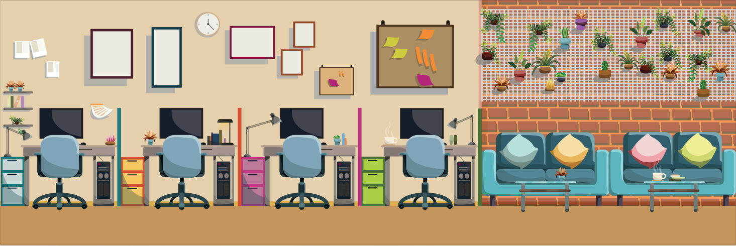 Modern Office Interior Workplace And Relax Place Flat Vector