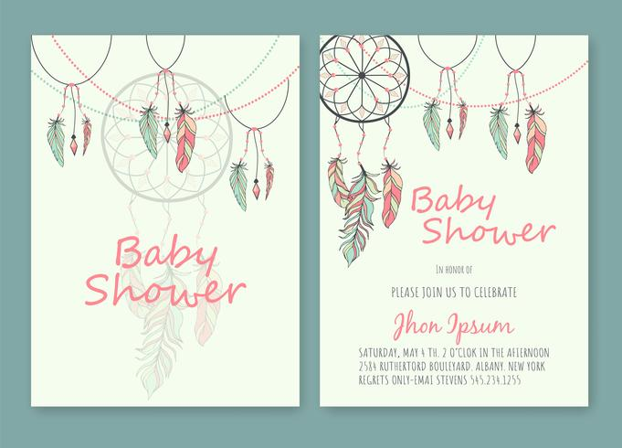 Baby Shower hand drawn native american dream catcher beads vector image