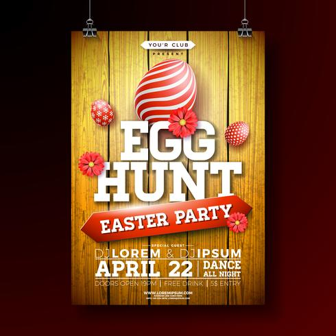 Vector Easter Egg Hunt Party Flyer Illustration with painted egg and flower