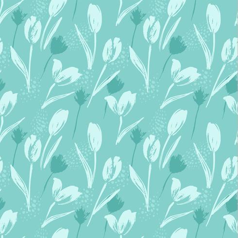 Tulipas sem emenda florais abstratas do teste padrão Texturas tiradas da mão na moda.