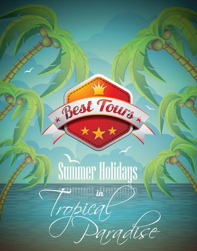 Vector Summer Holiday Flyer Design with palm trees and Best Tour Banner on sea background.