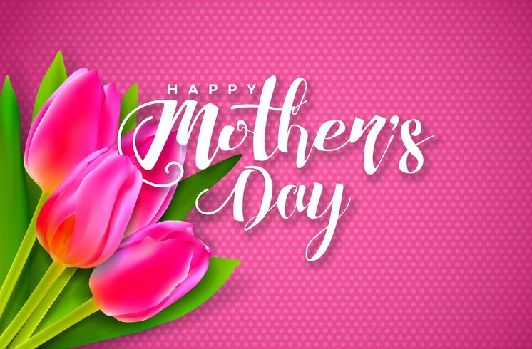 Happy Mother's Day Greeting card with flower on pink background