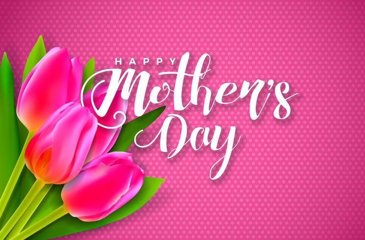 Carte de voeux bonne fête des mères avec fleur sur fond rose