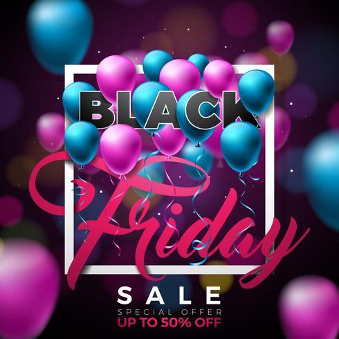 Svart Friday Sale Illustration med glänsande ballonger på mörk bakgrund