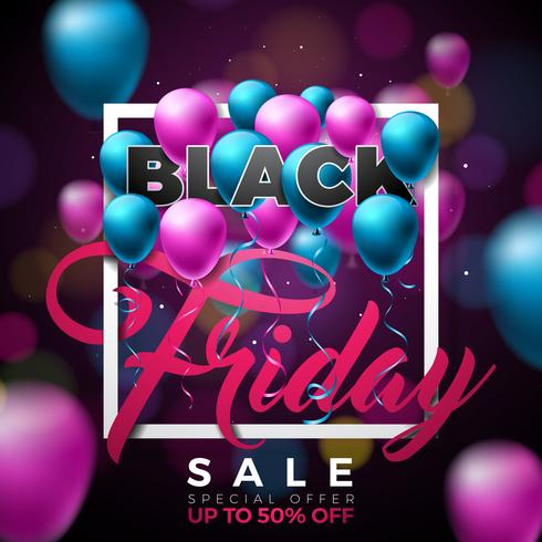 Black Friday Sale Illustration with Shiny Balloons on Dark Background