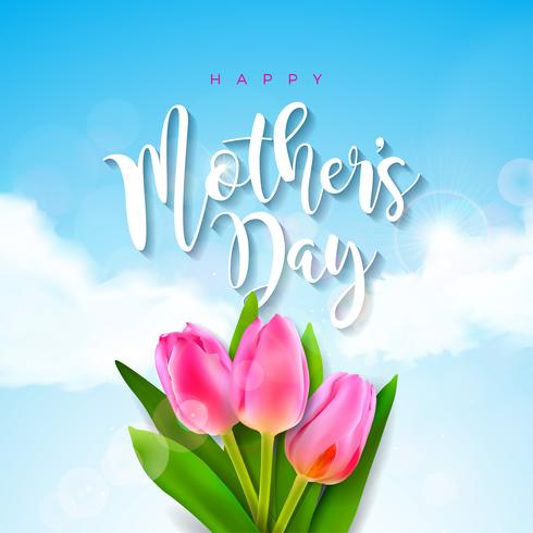 Cartão de saudação de dia das mães com flor tulipa no fundo da nuvem