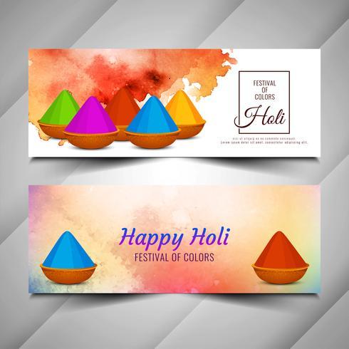 Conjunto de bandeiras de festival abstrato feliz Holi