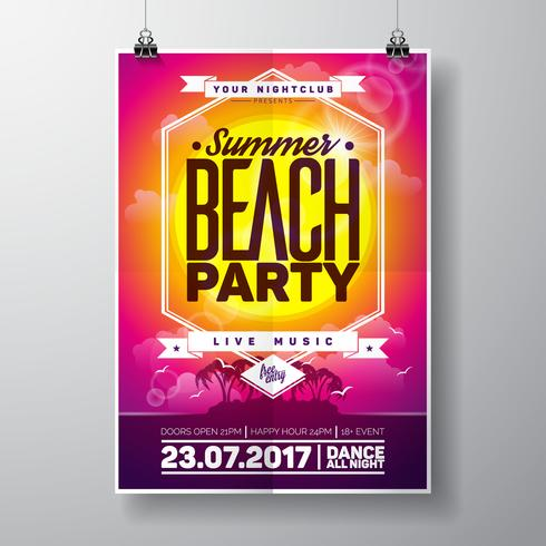 Vector Summer Beach Party Flyer Design con elementos tipográficos