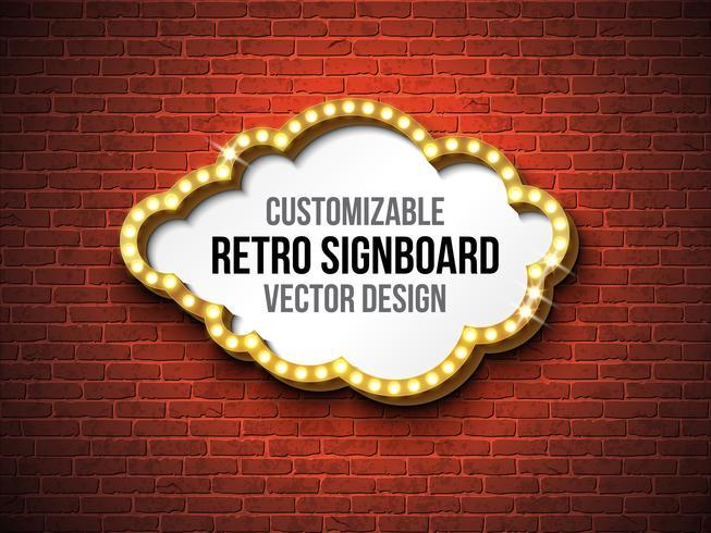 Retro signboard or lightbox illustration  on brick wall background
