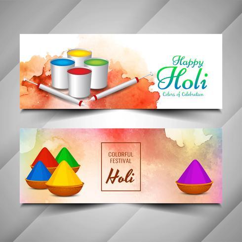 Abstracte mooie Happy Holi-banners instellen