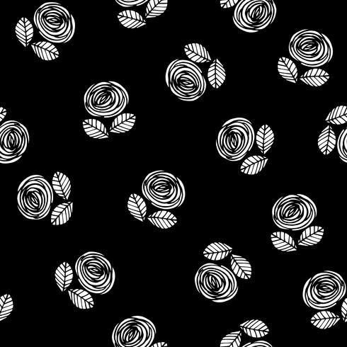 Abstract floral seamless pattern with roses. Trendy hand drawn textures.