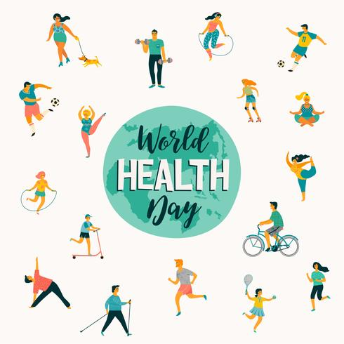 6427dfc355df World Health Day. Vector illustration of people leading an active ...