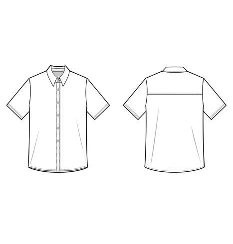 Skjorta Set Fashion platt teknisk ritning vektor mall
