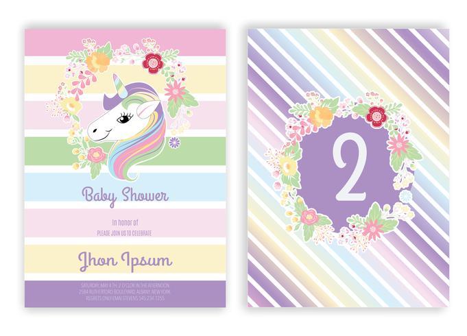 Unicórnio, floral, unicórnio, decoração, cartão bebê, chuveiro
