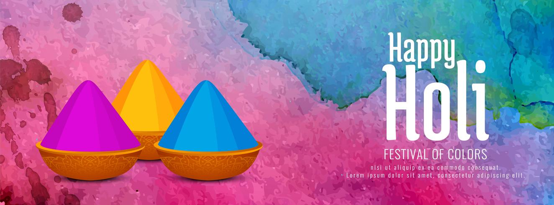 Resumen feliz Holi colorido festival banner diseño