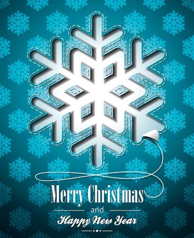 Vector a ilustração de Natal com design de flocos de neve na baclground azul