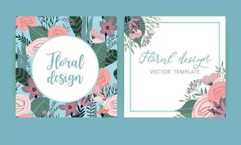 Vector sjablonen met bloemen. Ontwerp voor kaart, poster, banner, uitnodiging, bruiloft, groet.