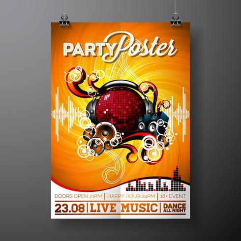 Illustration för ett musikaliskt tema med högtalare och discoball på grunge bakgrund.