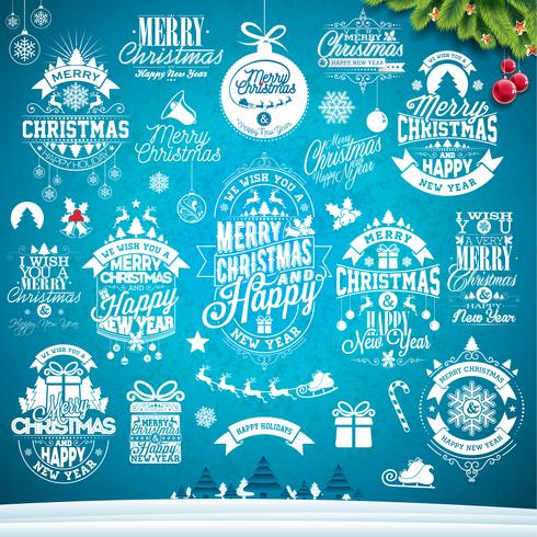Calligraphic and typographic Christmas design set