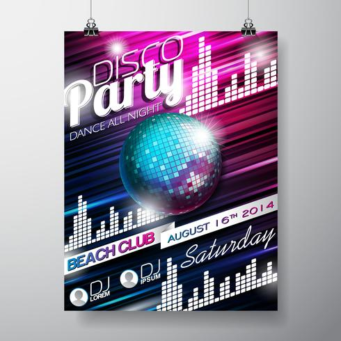 Vektor-Disco-Party-Flyer-Design mit Discokugel auf glänzendem Hintergrund. vektor