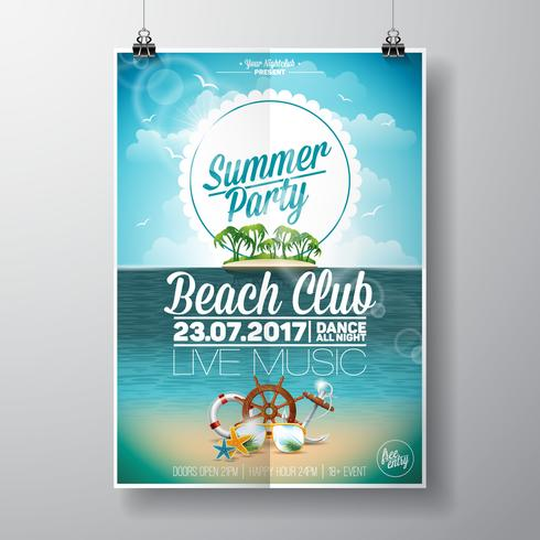 Vector Summer Beach Party Flygdesign med typografiska element