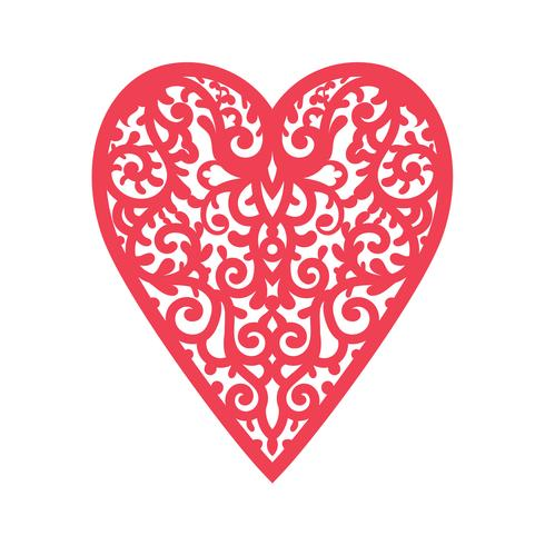 Template heart with flowers for laser cutting, chipboard scrapbooking. vector