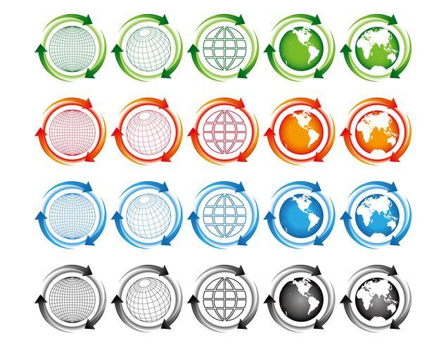 Modèle d'illustration de conception globe terrestre carte vectorielle