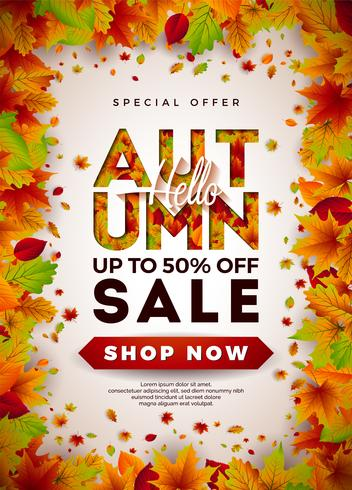 Autumn Sale Design with Falling Leaves vector