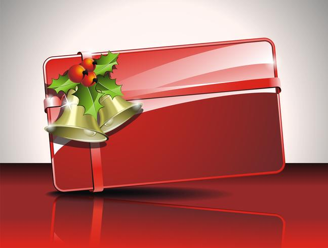 Vector a ilustração de Natal com holly e sinos em fundo vermelho