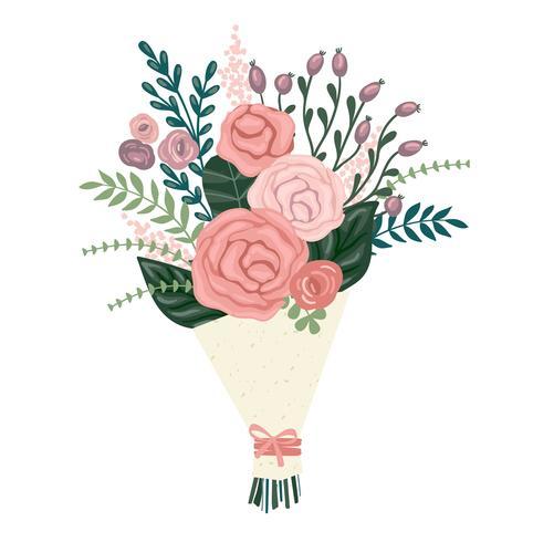 Ilustración vectorial ramo de flores.
