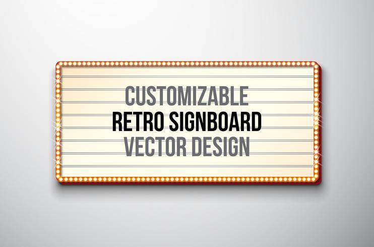 Retro skylt eller ljusbox illustration med anpassningsbar design