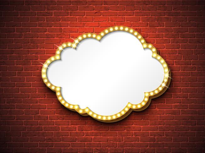 Tabuleta retrô ou caixa de luz no fundo de tijolo
