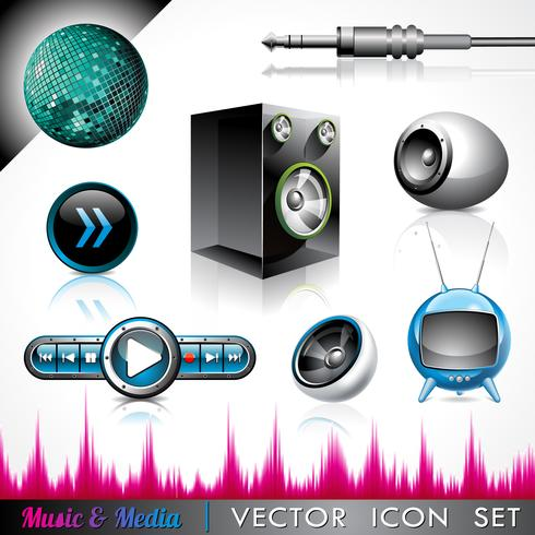 Vector icon collection on a music and media theme.