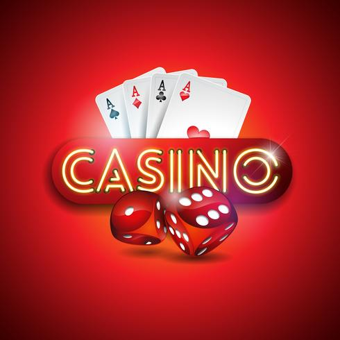 Casino illustration with shiny neon light letters and poker cards vector