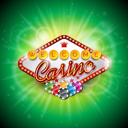 Vector la ilustración en un tema del casino con el color que juega virutas y las tarjetas del póker en fondo oscuro.