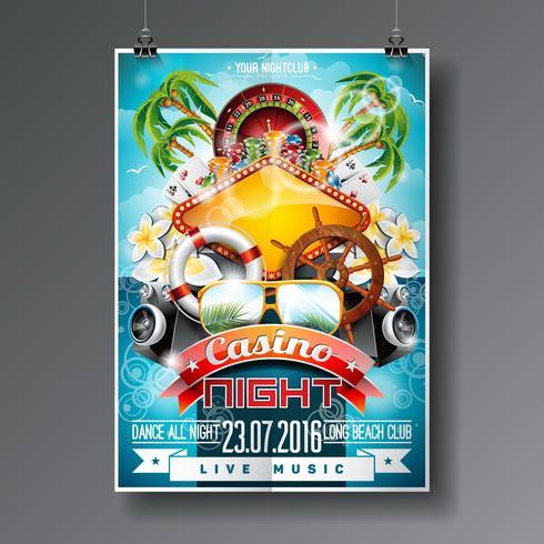 Vector el diseño del aviador del partido en un tema del casino con la rueda de ruleta y los elementos del verano