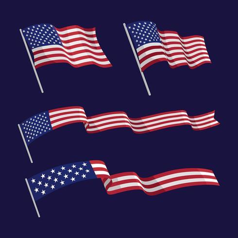 Conjunto de banderas de American Wavin vector
