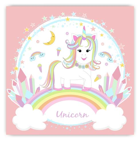 Beautiful unicorn head and inscription be unique with stars illustration vector